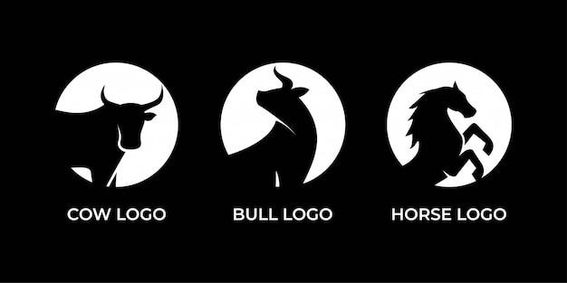 Kuh-, stier- und pferdelogoentwurf Premium Vektoren