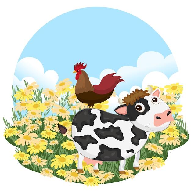 Kuh und hahn auf einer wiese Premium Vektoren