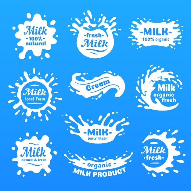 Kuhmilch spritzt mit buchstaben. lokalisiertes milchspritzen für naturkostladen, molkereilogovektoraufkleber Premium Vektoren