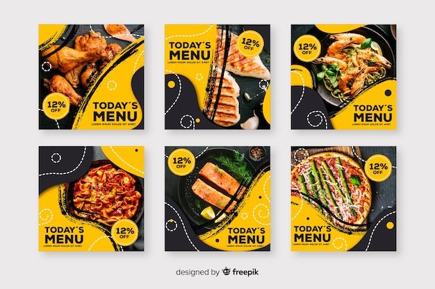 Kulinarische instagram beitragssammlung mit foto Premium Vektoren