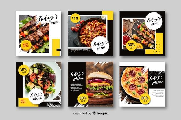 Kulinarischer instagram beitrag eingestellt mit foto Kostenlosen Vektoren