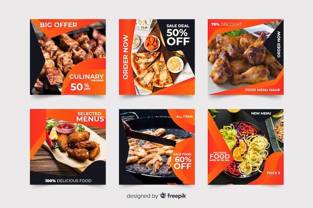 Kulinarischer instagram beitragssatz mit foto Kostenlosen Vektoren