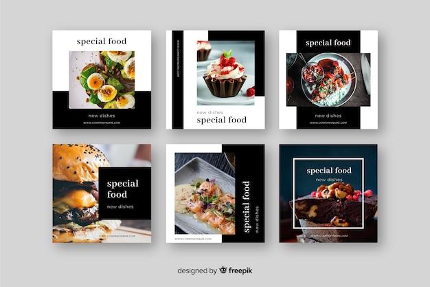 Kulinarischer instagram pfosten eingestellt mit bild Kostenlosen Vektoren
