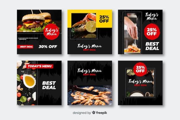 Kulinarisches instagram set pfosten Kostenlosen Vektoren