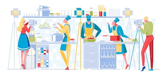 Kulinarisches programm oder blog-rundfunk. fernsehen Premium Vektoren