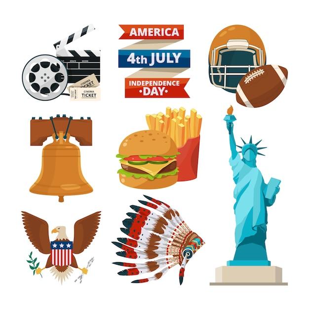 Kulturgegenstände von amerikanern usa. Premium Vektoren