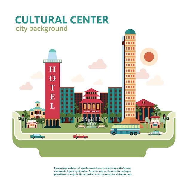 Kulturzentrum stadt hintergrund Kostenlosen Vektoren