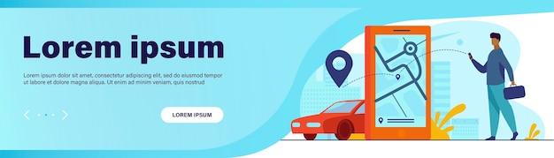 Kunde nutzt online-app für taxibestellung oder mietwagen. mann, der taxi auf stadtplan sucht Kostenlosen Vektoren
