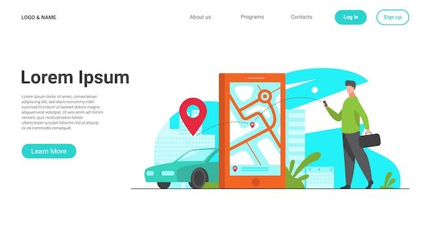 Kunde nutzt online-app für taxibestellung oder mietwagen Kostenlosen Vektoren