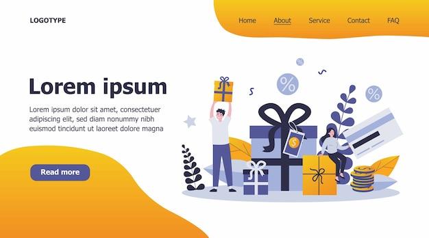 Kunden erhalten geschenke und belohnungen für einkäufe illustration Premium Vektoren