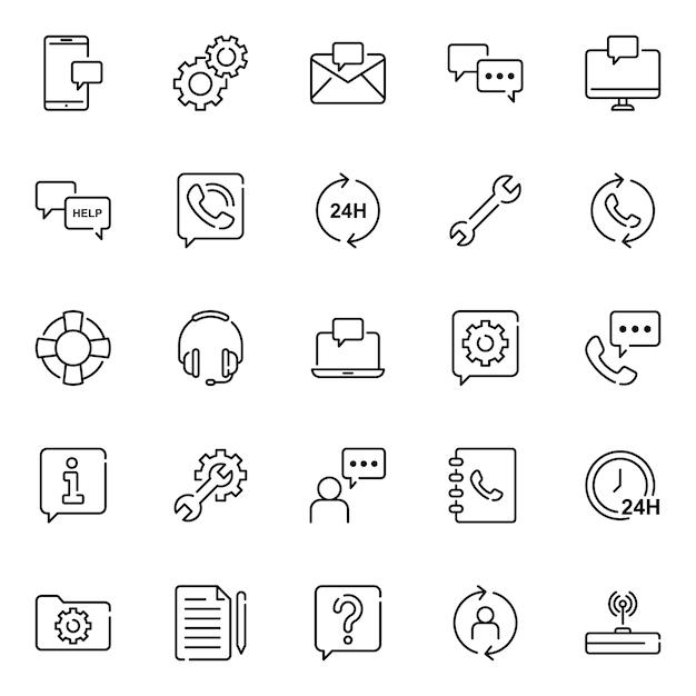 Kunden-icon-pack mit umriss-icon-stil Premium Vektoren