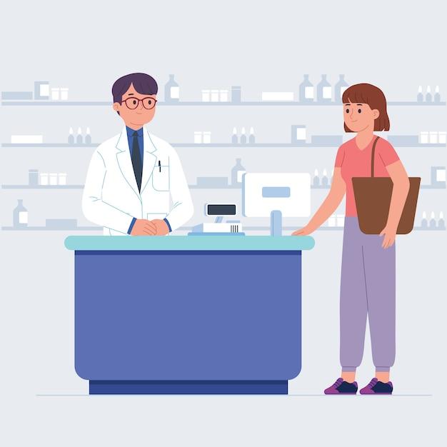 Kunden kaufen medizinische versorgung in der drogerie Premium Vektoren