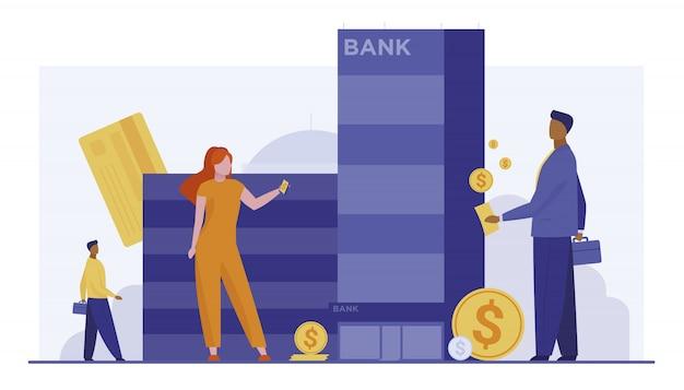Kunden mit geld, das nahe bankgebäude steht Kostenlosen Vektoren