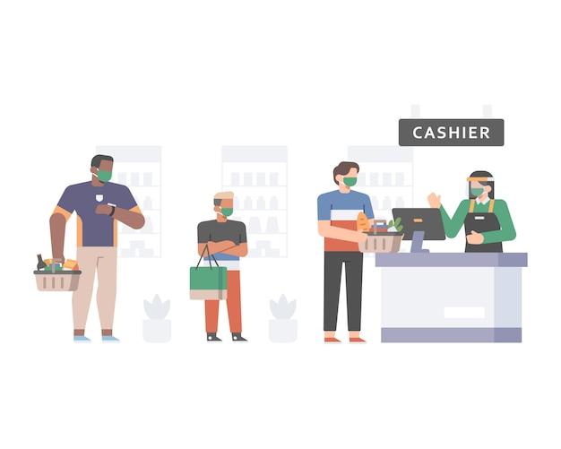 Kunden stehen an der supermarktkasse an, während sie das sicherheits- und gesundheitsprotokoll anwenden, indem sie soziale distanzierung betreiben und gesichtsmaskenillustrationen tragen Premium Vektoren