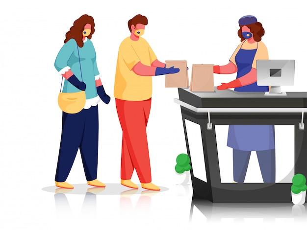 Kunden und käufer tragen eine schutzmaske am schalter mit papiertüten, um coronavirus zu vermeiden. Premium Vektoren
