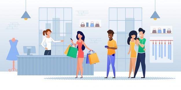 Kunden-warteschlange an der kasse im bekleidungsgeschäft Premium Vektoren