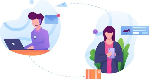 Kundenauftragsservice-illustration flach Premium Vektoren
