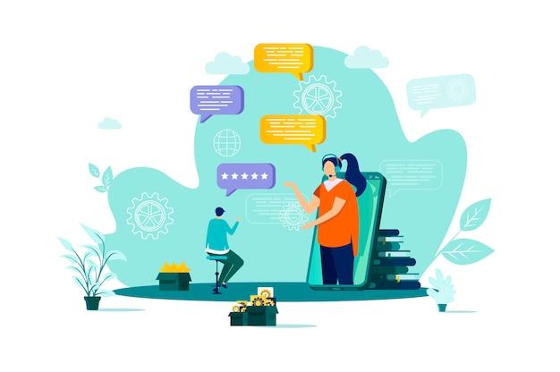 Kundenbetreuungskonzept mit stil mit personencharakteren in der situation Premium Vektoren