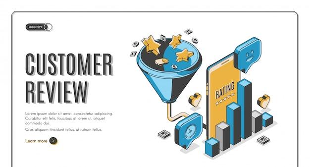 Kundenbewertung bestes ergebnis isometrische zielseite Kostenlosen Vektoren