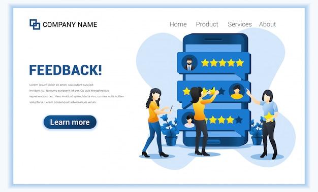 Kundenbewertung konzept. junge frau, die sternbewertung auf riesigem smartphone gibt. zufriedenheit, positives feedback für produkt oder dienstleistung. Premium Vektoren