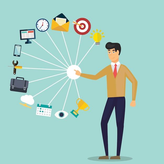 Kundenbeziehungsmanagement Premium Vektoren