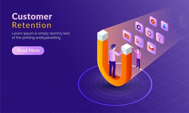Kundenbindung konzept. Premium Vektoren