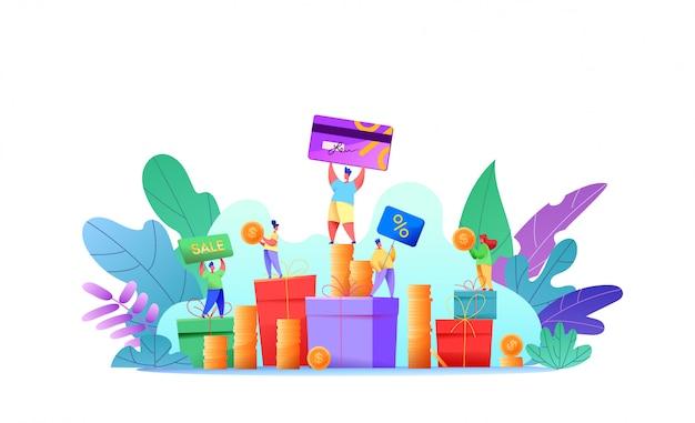 Kundenbindungsprogramm, cashback, bonusset, Premium Vektoren