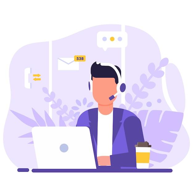 Kundendienst, bediener mann sitzt am tisch mit einem laptop, mit kopfhörern und einem mikrofon, um symbole unterstützen elemente, kaffee und blumen. Premium Vektoren