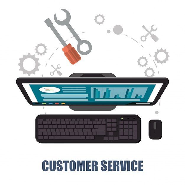 Kundendienst-computer-support-konzept Premium Vektoren