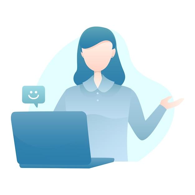 Kundendienst-illustration mit dem frauen-video, das zu den kunden mit lächeln emoticon benennt Premium Vektoren