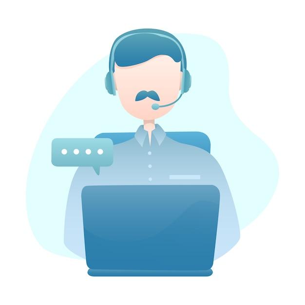 Kundendienst-illustration mit dem mann-abnutzungs-kopfhörer, der mit kunden über laptop plaudert Premium Vektoren