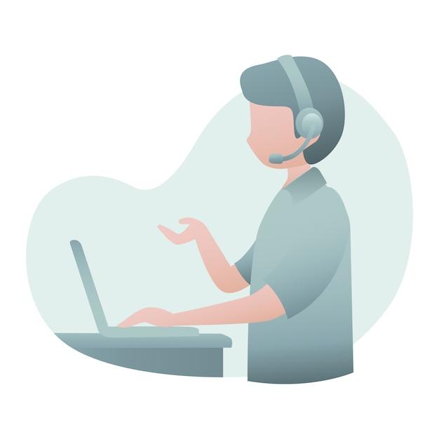 Kundendienst-illustration mit mann-abnutzungs-kopfhörer und sprechen mit kunden über online Premium Vektoren