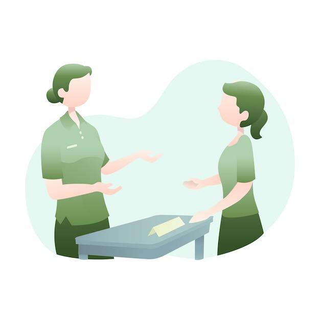 Kundendienst-illustration mit zwei frauen, die zusammen sprechen Premium Vektoren