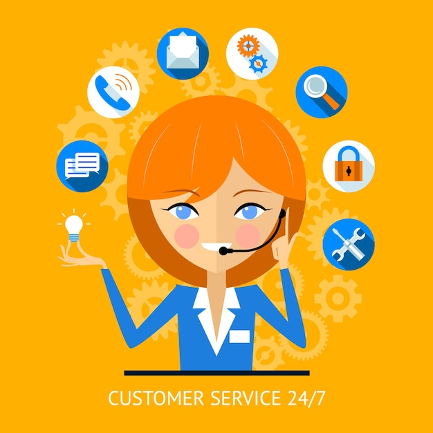 Kundendienst-symbol eines hübschen lächelnden call-center-mädchens, das ein headset trägt, umgeben von verschiedenen online-web-symbolen für zahlungs-wlan-suchsicherheit und soziale medien Kostenlosen Vektoren