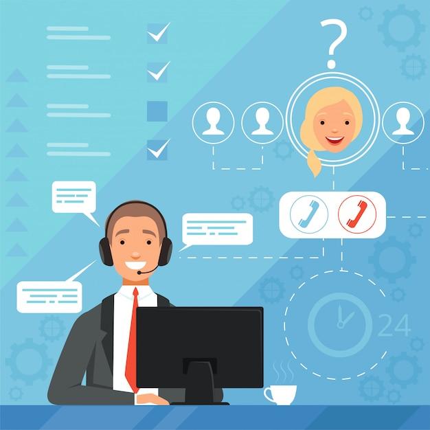 Kundenservice-konzept. 24h business online support manager betreiber beschwerde Premium Vektoren