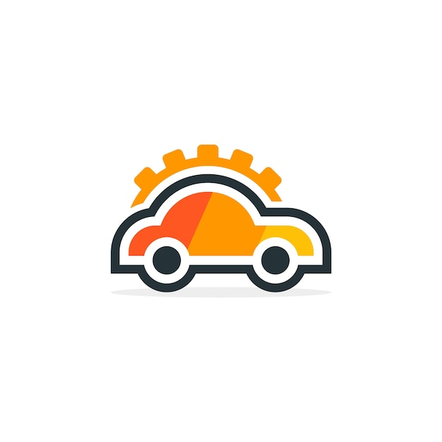 Kundenspezifisches auto mit gang-logo Premium Vektoren