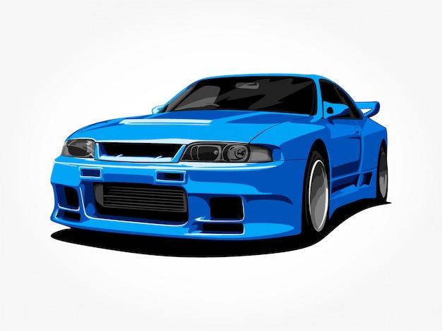 Kundenspezifisches blaues auto Premium Vektoren