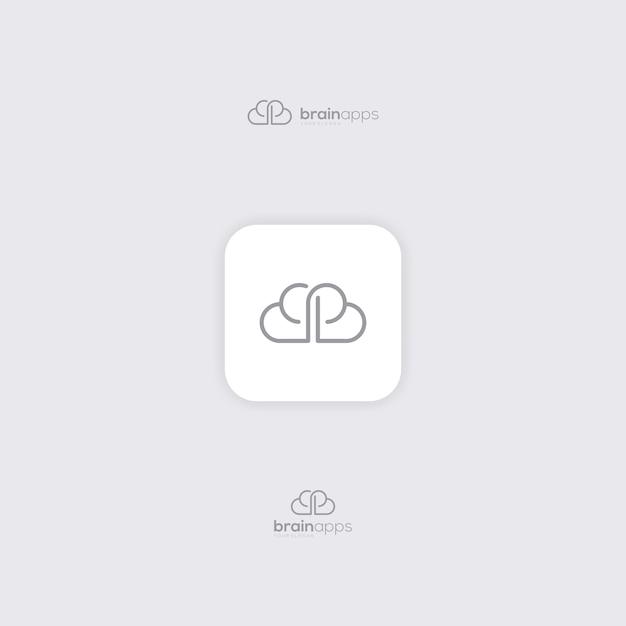 Kundenspezifisches grafikdesigngehirn mit art monoline Premium Vektoren
