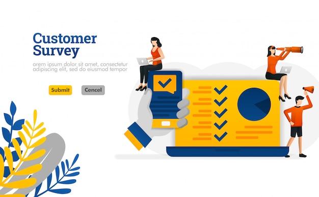 Kundenumfrage apps mit den händen, die ein smartphoneillustrationskonzept halten Premium Vektoren