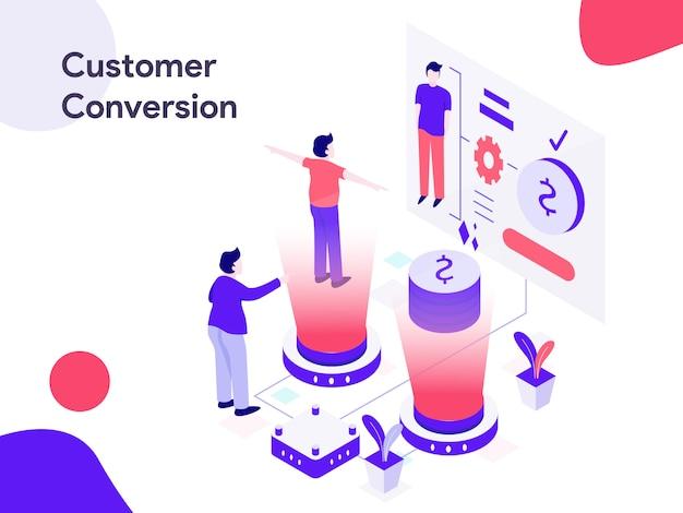 Kundenumwandlung isometrische illustration Premium Vektoren