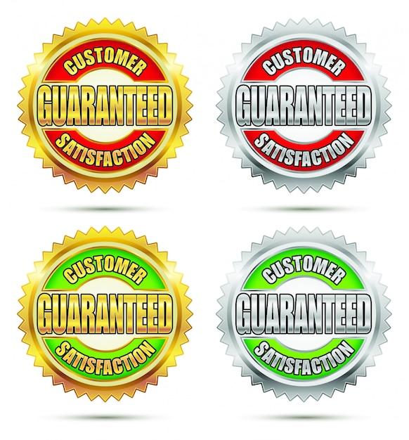 Kundenzufriedenheit garantiert siegel Premium Vektoren