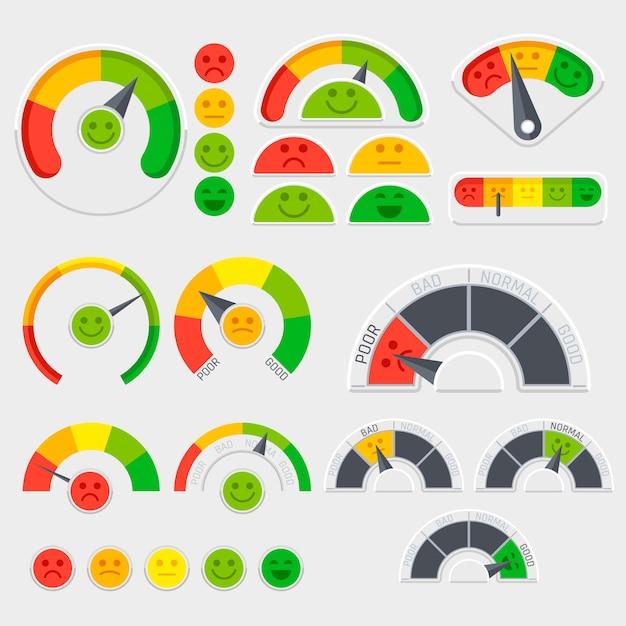 Kundenzufriedenheits-vektorindikator mit gefühlikonen. emotionale kundenbewertung. guter und schlechter indikator, kreditscoreillustration Premium Vektoren