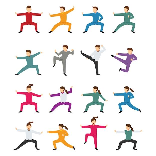 Kung fu charakter design vektor Premium Vektoren