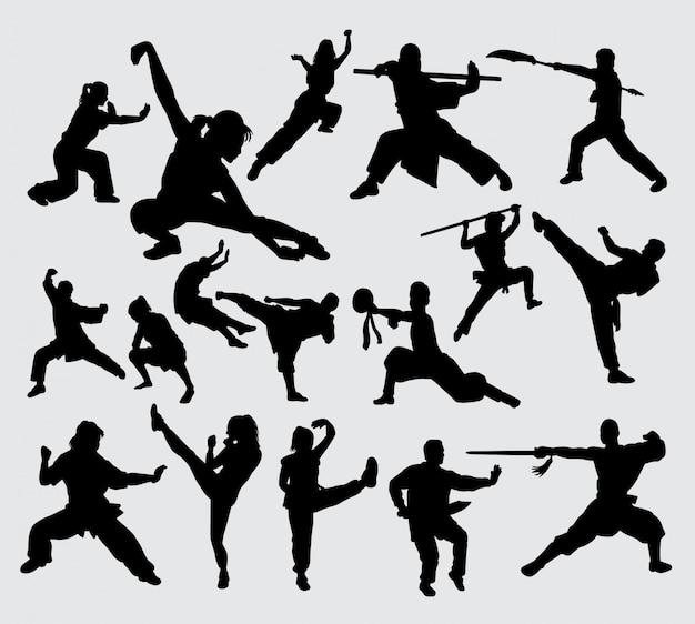Kung fu kampfkunst silhouette Premium Vektoren