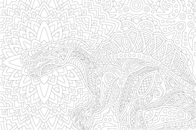 Kunst für malbuch mit stilisiertem spinosaurus Premium Vektoren