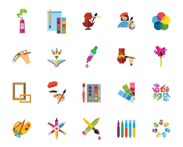 Kunst und handwerk-icon-set Kostenlosen Vektoren