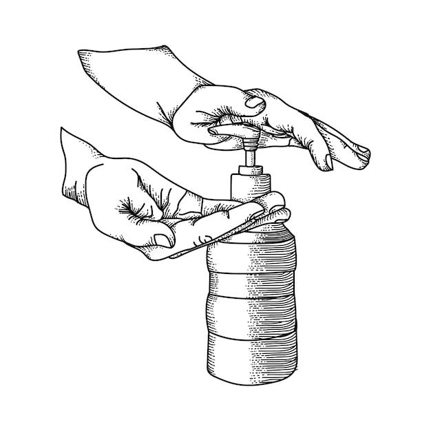 Kunsthandwerk gezeichnete iluatration schwarzweiss-hände waschen premium-vektor Premium Vektoren