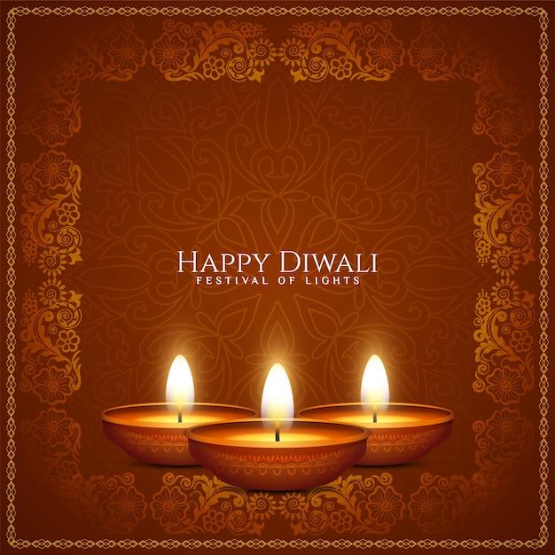 Kunstlicher rahmenhintergrundvektor des glücklichen diwali-kulturfestivals Kostenlosen Vektoren