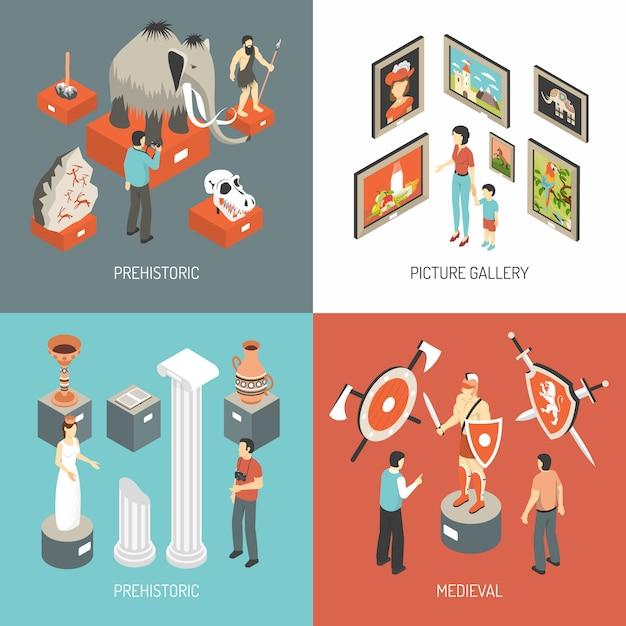 Kunstmuseum-isometrische ikonen-quadrat Kostenlosen Vektoren