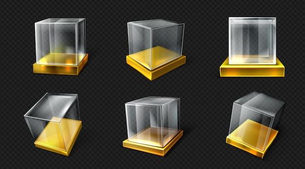 Kunststoff- oder glaswürfel auf goldbasis in verschiedenen blickwinkeln Kostenlosen Vektoren